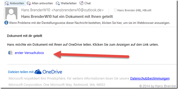 Windows Tecnical Preview- Build 9879: OneDrive: empfangene Mail mit Link