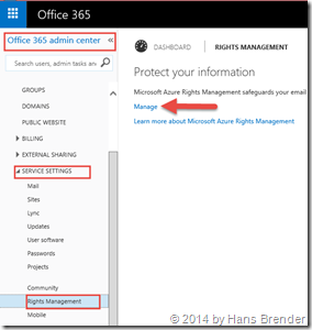 Office 365 Admin Center: Rights management
