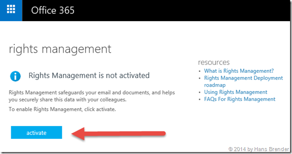 Office 365: activate of rights management