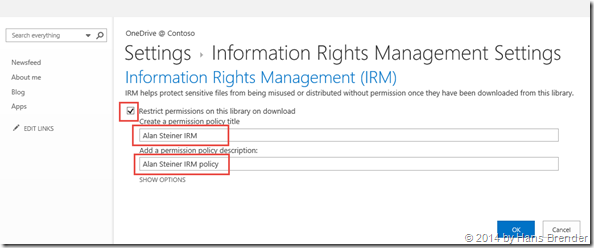 Sharepoint Library, library settings,Rights Managament settings