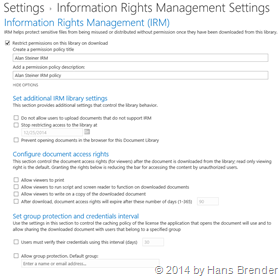 Sharepoint Library, library settings,Rights Managament settings, options