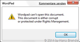 a protected document may not be opend with Wordpad