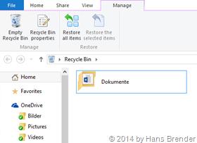 Windows Tecnical Preview- Build 9879: OneDrive: Papierkorb