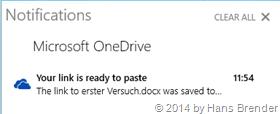 Windows Tecnical Preview- Build 9879: OneDrive: der getielte Link