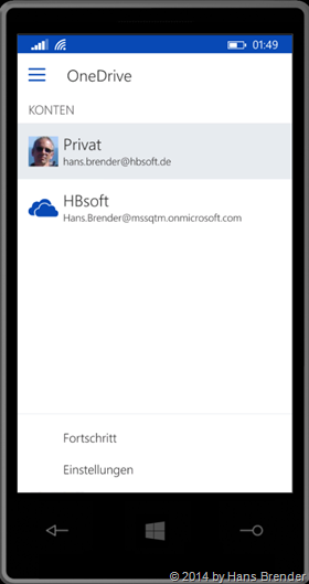 Windows Phone:, OneDrive, OneDrive for Busines
