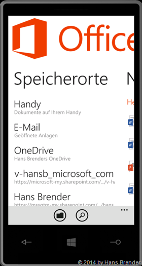 Windows Phone:, OneDrive, OneDrive for Busines, Office Hub