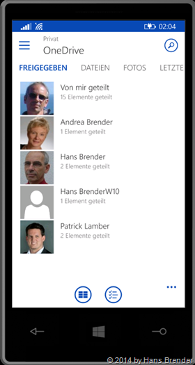 Windows Phone:, OneDrive, OneDrive for Busines, freigegebene Dateien