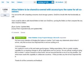 OneDrive, UserVoice,Antwort von Microsoft