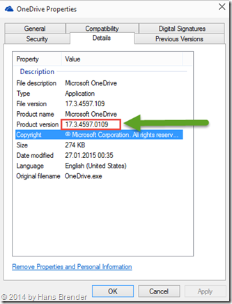 Settings of OneDrive.exe , Windows 10