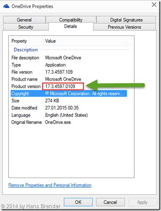 Eigenschaften der OneDrive.exe unter Windows 10
