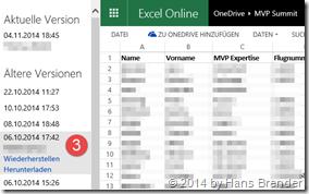 OneDrive: Versionsverlauf: Versionen: Wiederherstellen