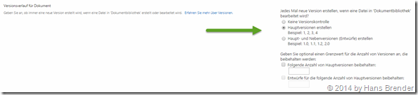 OneDrive for Business: Versionshistorie: Einstellungen