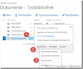 OneDrive for Business: Versionsverlauf