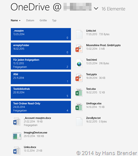 OneDrive for Business, modern App, Windows 8.1