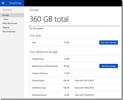 OneDrive storage