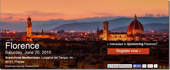 SharePoint Saturday 2015, Florence