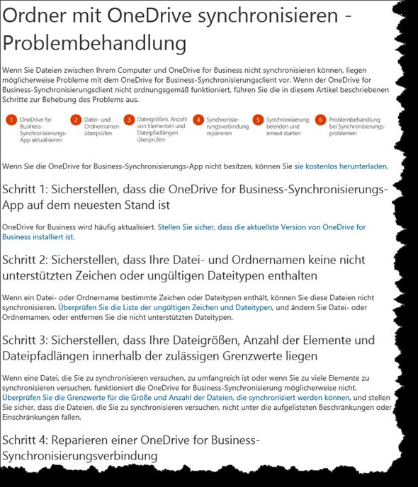 Ordner mit OneDrive synchronisieren - Problembehandlung