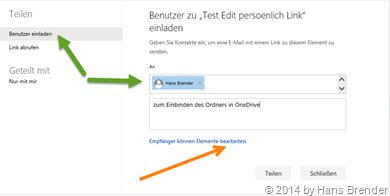 OneDrive, Teilen, Benutzer einladen