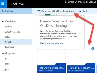OneDrive: Zu meinem OneDrive hinzufügen: Schritt 2