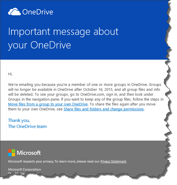 Microsoft: Mail OneDrive-Gruppen 16.10.15