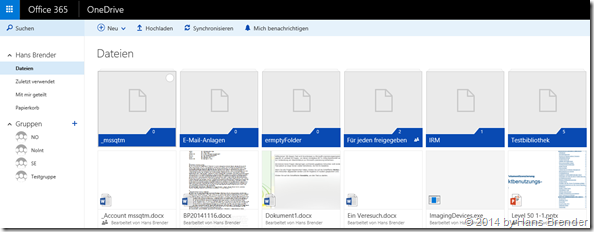 Web-Browser Ansicht OneDrive for Business