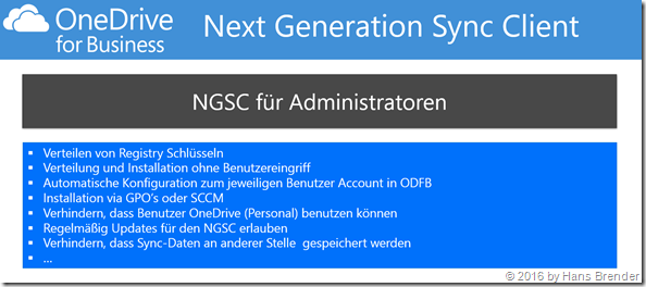 Next generation Snyc Client for Administratoren