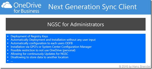 Next Generation Sync Client for adminstrators