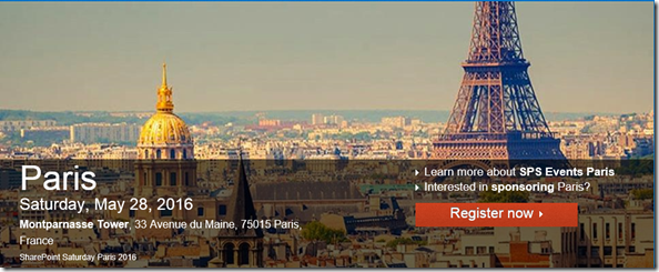 SharePoint Saturday 2016, Paris