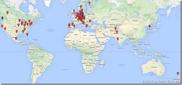 Welt-Karte, woher mich meine Geburtstagsgrüße erreicht haben