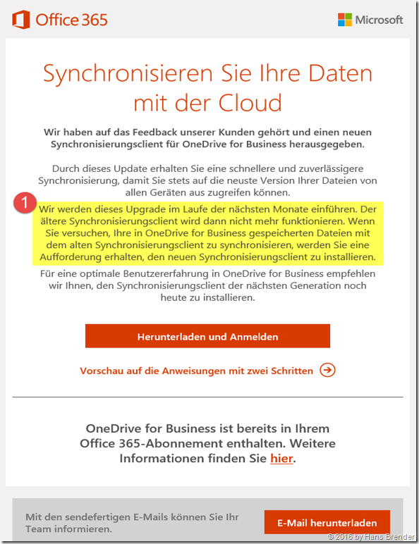 Microsoft Mail an den Office 365 Administrator