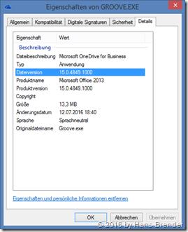 Eigenschaften der Groove.exe 15.0.4849.1000 (Office 2013)