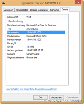 Settiungs of Groove.exe 15.0.4841.1000 (Office 2013)