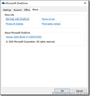 Eigenschaften des Next Generation  Sync Client Version 2016 17.3.6514.0720