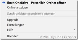 Erster Schritt zu den Einstellungen von OneDrive