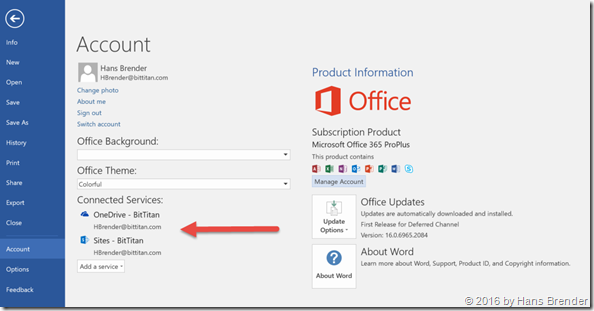Word: Connected to Office 365 Services