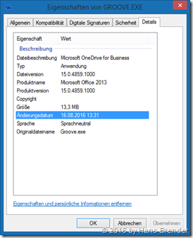 Eigenschaften der Groove.exe 15.0.4859.1000 (Office 2013)
