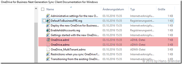 Files in the OneDrive Deployment package