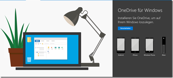 Download-Seite des Next Generation Sync Clients, OneDrive, OneDrive for Business