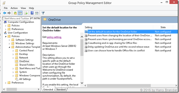 different entries in the GPO Editor for OneDrive