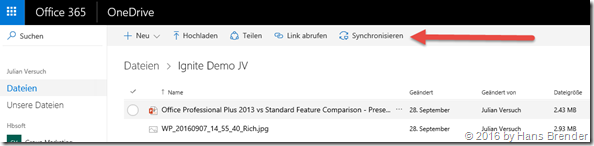 Office 365:  OneDrive (for Business) : Mit mir geteilt: Synchronisation