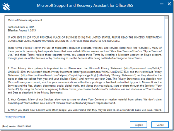 Microsoft Service Agreement