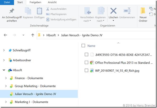 Explorer-Ansicht OneDrive for Business (Gruppen, Team-Seiten und mit mir geteilte Dateien)