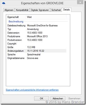 Eigenschaften der Groove.exe Version 15.0.4883.1000