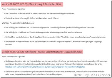 Bild aus dem deutschen ChangeLog: Version 17.3.6705.1122
