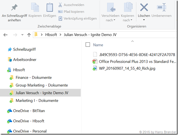 Windows Explorer: Shared withn me local sync