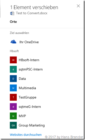 Copy/Move, OneDrive for Business, SharePoint Team Sites