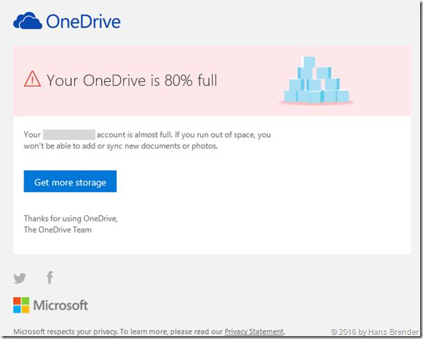 OneDrive (Personal) Speicher  verkleinert