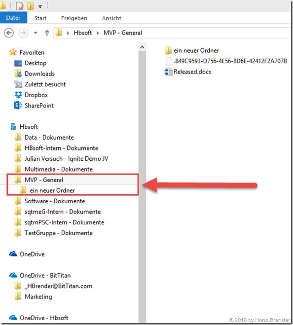 synchronisierte Ordner und Dateien aus Microsoft Teams