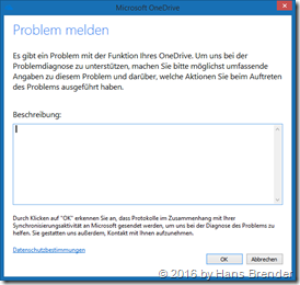 Next Generation Sync Client: OneDrive Problem melden
