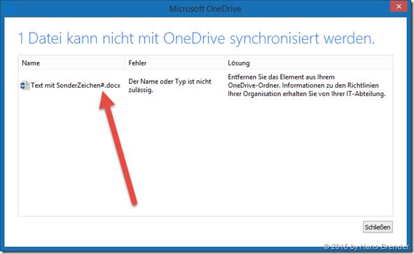 Next Generation Sync Client: Fehler, unzulässiges Zeichen im Dateinamen